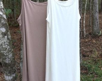 Lace Slip cami extender for dress or skirt to make longer, Mocha or Off White Color