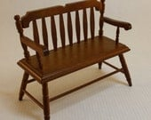 Dollhouse Miniature Colonial Wood Bench (1/12 Scale)