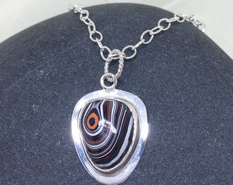 Fordite Teardrop Pendant, Motor City Agate, Detroit Agate, Custom Freeform Fordite Pendant with Sterling Silver Necklace