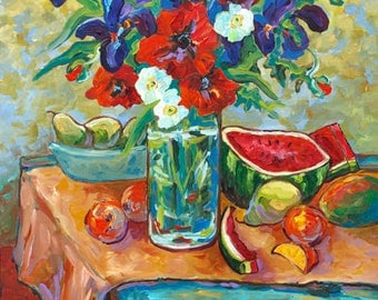 If Vincent Came to Lunch... Watermelon Picnic, Still Life, Poppies, Iris, Pears