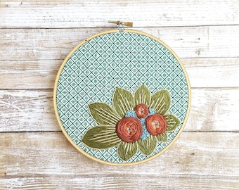 floral embroidery hoop art/modern blackwork/green and orange decor/floral wall art/embroidered wall art/modern embroidery/embroidered flower