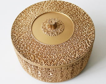 Ornate mid-century gold acrylic storage container / cake box