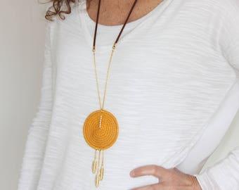 Ocher leaf necklace for women, Ocher long necklace with pendant, Ethinic long necklace with leaves pendant, Boho long necklace with pendants