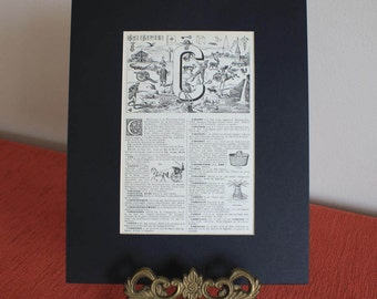 1939 Vintage french Alphabet letter C mounted print illustration matted page