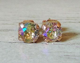 Small sparkly studs, Swarovski Crystal, Small Swarovski, Rose Gold Studs, Small earrings, nickel free earrings, Sparkly Multicolor earrings