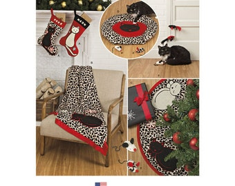 Sewing Pattern for Christmas Stockings, Tree Skirt, Throw, Cat Bed, Cat Toys, Simplicity Pattern 8284, New Pattern,Christmas