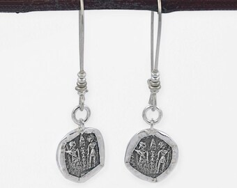 Silver coin earrings, Oxidized silver coin, Sterling silver 925, Ancient coin, Dangle earrings, Silver charm, FREE SHIPPING
