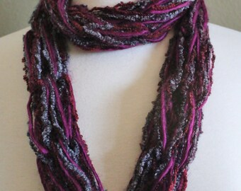 Dark Wine and Gray Textured Double Loop Arm Knit Infinity Scarf
