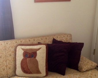 Vintage 1970s Fuzzy Owl Throw Pillow