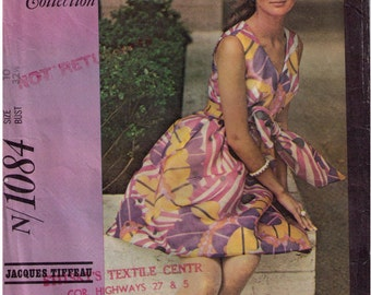 Uncut McCall's 1084, 60s Sewing Pattern, Size 10 Waist 32 Half V Neck Dress Empire Waist Sleeveless Designer Pattern Jacques Tiffeau