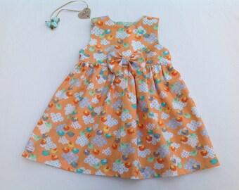 Baby girl dress, girls dress, bow dress, bird print, girls clothing, baby shower, baby gift, orange dress,  toddler dress, occasion, party