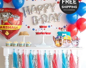 Paw Patrol Party Supplies and Decoration Ideas. Complete Paw Patrol birthday party theme including Paw Patrol balloons & optional masks.