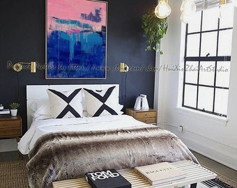 Hand Made Abstract Art, Acrylic Painting Large Canvas Art, Living Room Wall Art. Blue, pink,  Large wall art, Colourful, Oil Painting. Art