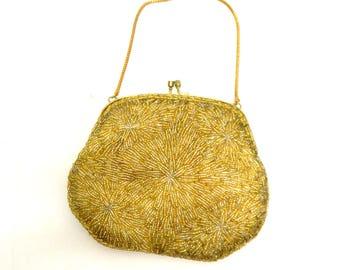 Vintage 1960s  Beaded  Purse...  Gold Iridescent ....  Chain Strap ... Evening Hand Bag...Mid Century...Fancy ... Dinner Bag ... Wristlet
