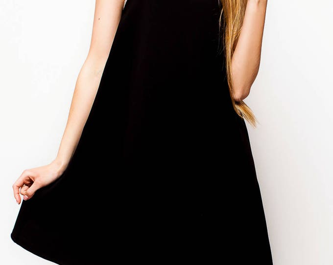 Black A Line Dress, Loose Fitting Dress ,Fit And Flare Dress, Knee Length Dress, Flowy Dress with Lace, Casual Dress