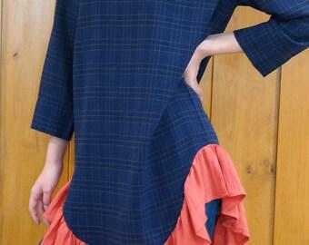 Navy Minimal Frill Dress/ Comfortable Women Dress/ 50%Sale