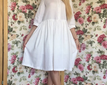 Plus size white linen beach dresses