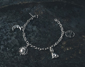 Earth Charm Bracelet (handmade, sterling silver 925, witch, witchcraft, wicca, magic, tree of life, cat, sun, moon, spiritual, psychic)