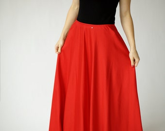 Red maxi skirt | Etsy