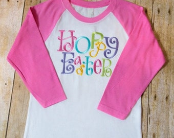 Children's Embroidered Hoppy Easter Raglan Shirt