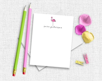 Flamingo Stationery, Personalized Stationery, Custom Stationery, Flamingo Stationary, Custom Stationery,  Tropical Stationery,  Preppy TS01