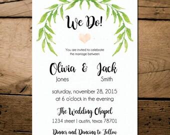 We Do! Wedding Invitation | Printable | Digital Download | ANY OCCASION