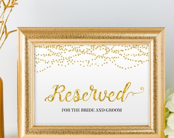 """Printable Gold Foil Look Reserved String Lights Wedding or Event Sign, 2 Sizes: 10""""x8"""" and 7""""x5"""", Editable PDF, Instant Download"""
