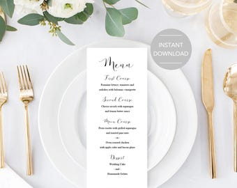 Wedding Menu Template, Wedding Food Menu, Printable Wedding Menu, Printable Menu, Wedding Menu Printable, Wedding Menu Instant Download