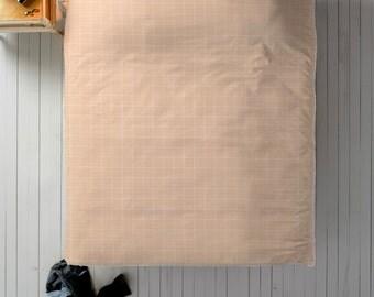 Peach & White Duvet, Grid Duvet Cover, Queen Duvet, King Duvet, Twin Duvet, Simple Bedding, Minimal Bedroom Decor, Minimal Duvet Cover, Pink