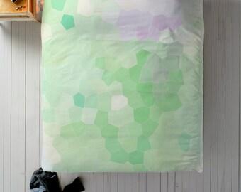 Geometric Duvet, Green Duvet, Queen Duvet, King Duvet, Twin Duvet, Minimal Bedroom Decor, Minimal Duvet Cover, Cute Bedding, Purple Duvet