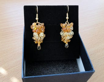 Citrine earrings gold stud earrings citrine jewelry gold earrings yellow gemstone earrings dangle drop earrings birthstone dangling earrings