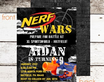 Nerf War Invitation | FREE Thank You Card File | Nerf Birthday Invitation | Paintball Party Invitations | Boy Birthday Invitation