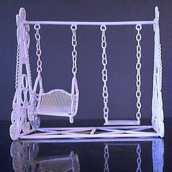 Vintage wrought iron dollhouse miniature victorian swing set for Mini swing set