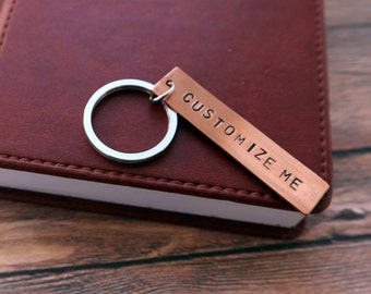 Personalized Keychain Custom Copper Keychain Hand Stamped Metal Keychain For Her For Him Key Ring Personalized Gift Key Chain Keyring BFF
