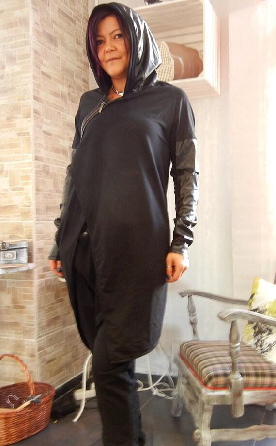 Lagenlook Asymmetric Extravagant Hoodie / Loose Hooded Maxi Jacket / Eco Leather Cotton Oversized Hoodie