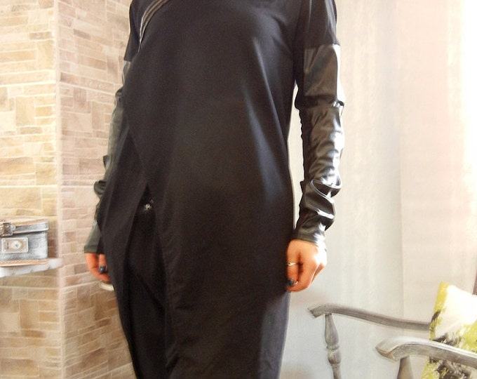 NEW Asymmetric Extravagant Loose Hooded Maxi Jacket / Eco Leather Cotton Oversized Hoodie