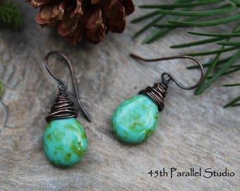 Turquoise Picasso Copper Earrings, Wire Wrapped Czech Glass Earrings, Rustic Earrings, Green Earrings, Wire Wrap Earrings, Copper Earrings