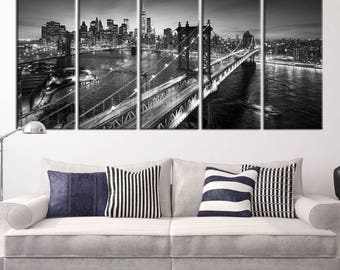 Large Wall Art NEW YORK Canvas Prints - Black and White Amazing Manhattan and Brooklyn Bridges in the Evening