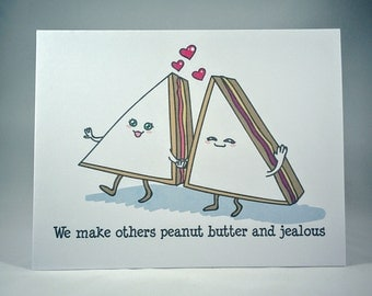 Peanut Butter and Jealous Card - Peanut Butter and Jelly, Love Card, Valentine Card, Cute Cards, Anniversary Card, The Interview movie, PBJ