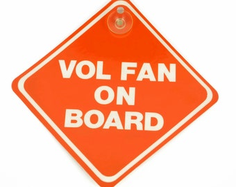 Vintage 80's VOL FAN on Board, Tennessee Volunteers Car Window Cling, UT Vols Fan Vehicle Sign, Retro College Decor Old Stock