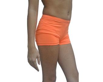 Youth Neon Orange Dance Shorts, Kids Gymnastics Shorts, Girls Spandex Shorts