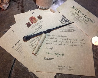 Acceptance Letter  Set - with Wand and House letter
