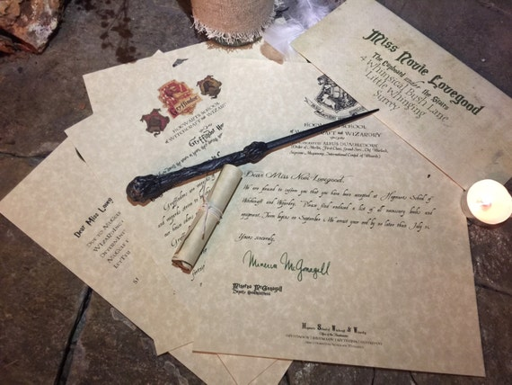 Hogwarts Acceptance Letter Set With Wand And House Letter