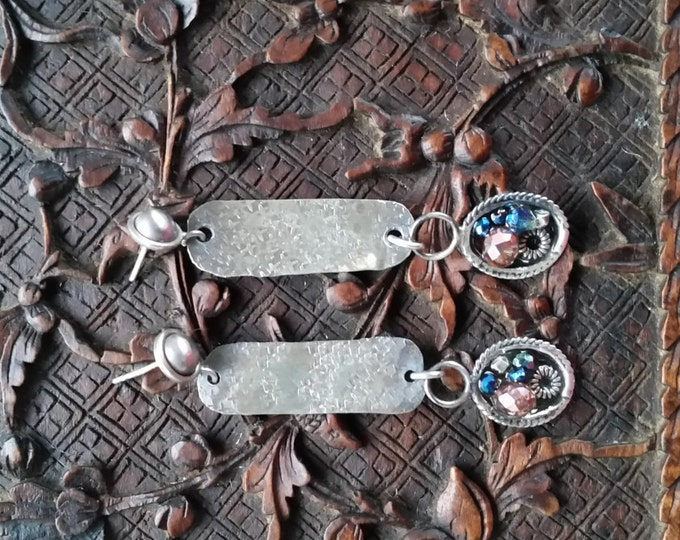Sterling Silver Beaded Dangle Hanging From a Hand Made Textured Sterling Rectangle