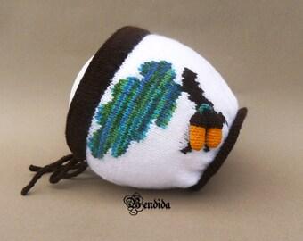 Toddler Girl Hat, Knit Kids Hat, Toddler Girl Bonnet, Acorn Hat, Winter Toddler Hat, White Bonnet, Kids Outfit, Girls Gift, Knit Girl Bonnet