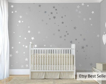 120 Silver Metallic Stars Nursery Wall Decals/Wall Stickers, Babies Wall Art Decal , Vinyl, Wedding, Wallpaper Art Decor