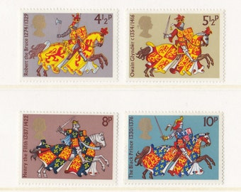1974 Vintage Postage Stamp Set from UK; Medieval Warriors; Knights, Horses, Jousting, Robert the Bruce, The Black Prince, MNH, Mint, Unused