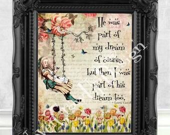 Alice in Wonderland Decor Alice in Wonderland Print Alice in Wonderland Quote Alice in Wonderland Wall Art Mad Hatter Tea Party Alice  C:55