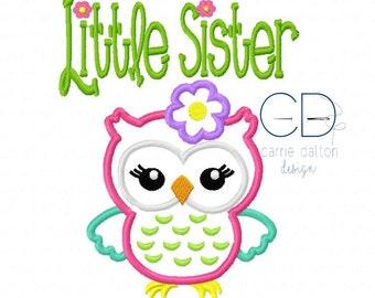 Owl Applique Design, Owl Embroidery Design, Little Sister Embroidery Design, Little Sister Applique Design, Little Sister Owl Applique