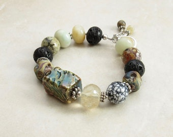 Raku Bracelet // Rustic Bracelet // Gemstone Bracelet // Chunky Bracelet // Boho Bracelet // Artisan Bracelet